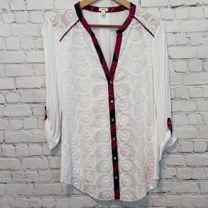 Anthropologie Tiny Embroidered Blouse Large
